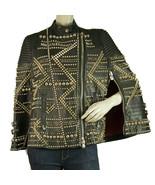 Philipp Plein Black Leather Cape / Jacket covered in golden studs & spik... - $5,939.01