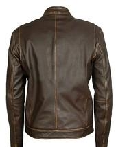 Mark Wahlberg Contraband Distressed Brown Biker Leather Jacket image 2
