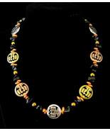 "17"" Halloween metal pumpkin, black jasper & orange artglass beads necklace - $63.00"