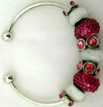 Handmade Silver and Pink Rhinestone Bracelet Pearlescent Stones Adjustable Size - $22.00