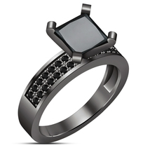 New Year Gift , 925 Silver Princess Cut Black Simulated Diamond Engageme... - $83.78