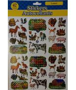 FARM ANIMAL LASER STICKERS Horse Cow Barn Duck Dog Cat 42 Sticker Set NEW - $3.99