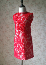 RED Lace Flower Girl Dress Short Straight Red Girl's Birthday Party Dresses NWT image 6