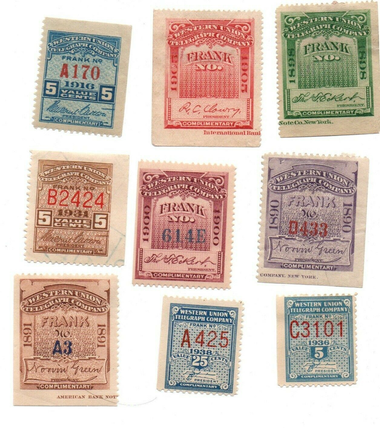 Primary image for 9 Western Union Telegraph Revenue Stamps / 1891 to 1936