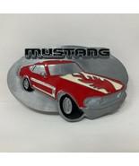 Vintage Siskiyou Ford Mustang Pewter Belt Buckle Fastback Mach Red H90 M... - $44.54