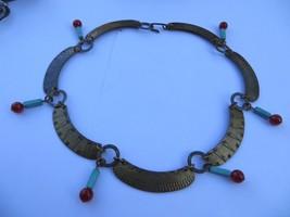 Mid Century Modern Brass Artisan Choker w/Turquoise/Carnelian beads stam... - $69.99