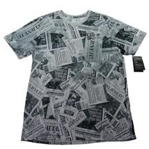 Nike Kyrie Newspaper Print T-Shirt Size Medium Mens Black Grey AH2254 063 New - $29.69