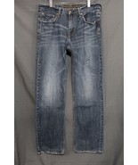 NEW Men's AE Slim Straight Jeans Faded Medium Blue Wash Distressed 33 x 30 - $18.94