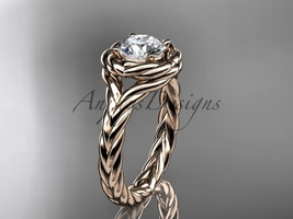 Rope engagement ring, 14kt rose gold twisted rope engagement ring RP8201 - $775.00