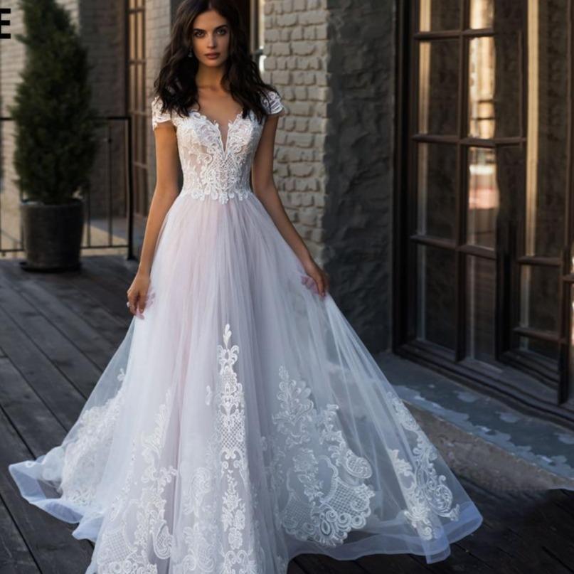 E blush pink beach wedding dresses v neck off shoulder elegant lace appliques wedding bride gown