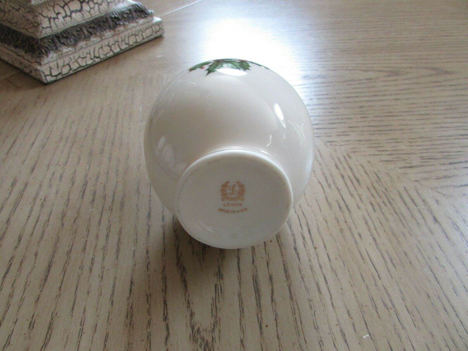 "LENOX HOLLY & BERRY BUD VASE CHINA MADE IN USA 8"" TALL"