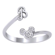 Pure 925 Silver 10K White Gold Plated Disney Mickey Mouse Diamond Initial B Ring - $23.89