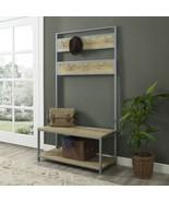 White Oak Wooden Metal Hall Tree Storage Stand Entryway Bench Coat Rack ... - $227.60