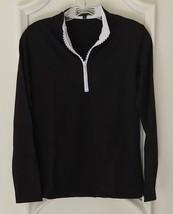 Stylish Golf/Casual Black Long Sleeve Mock Polo, Rhinestone Zipper - Gol... - $29.95