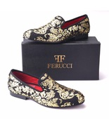Men FERUCCI Black Slippers Loafers Flat With Gold Printing - $199.99