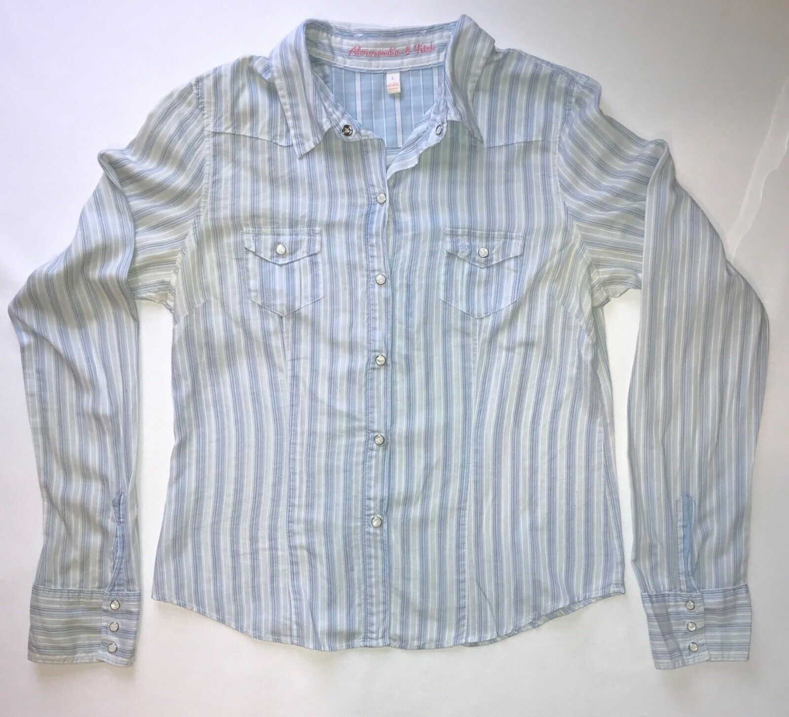 Primary image for Striped Long Sleeve Button Down Shirt by Abercrombie & Fitch in Blue w/Stripes L