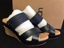 Ugg Adriana Marino Blue Leather Wedge Heels Sandals 5.5 Braided Jute 1015100 - $89.99