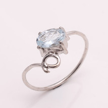 NATURAL AQUAMARINE 7*5 MM OVAL 925 STERLING SILVER 6.5 US RING - £11.85 GBP