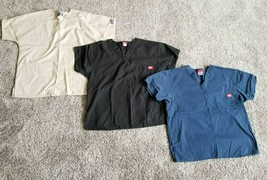 Lot of 3 Cherokee Workwear Dickies Unisex Size Small V-Neck Scrub Top - $13.85