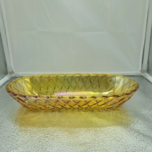 Indiana Amber Carnival Glass W/ Basket Weave Design Bread Relish Dish - $34.65
