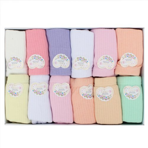 12 Pairs: Spring Pastel Ribbed Full-coverage Panties (10)