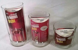 Set Of 3 Vintage Mid Century Modern Libbey Crystal Column Light Oil Candles - $26.72