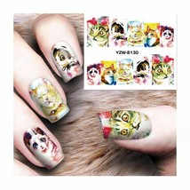Water Transfer Watermark Art Nails Decal Sticker Manicure Cats YZW8130 - $1.71