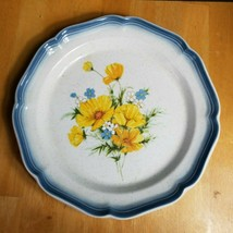 Mikasa Country Club Amy Dinner Plate Yellow Flowers Blue Edge (1) - $3.91