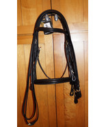 Bobby's Signature F/S Black/Brass Padded Double Dressage Bridle w/Reins - $225.00