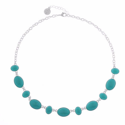 Liz Claiborne Women's Blue Lg Small Oval Collar Necklace Silver Tone 17 Inch NEW