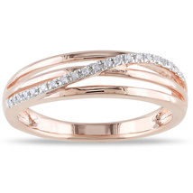 925 Pure Silver 14k Rose Gold Finish Round Cut Sim Diamond Band Engagement Ring - $67.68