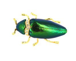Vintage Rare Egyptian Revival Genuine Beetle Cicada Wing Gold Tone Brooc... - $179.99