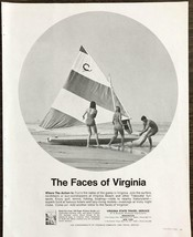 1968 Virginia State Travel Service PRINT AD Faces of Virginia Beach Sail... - $11.89