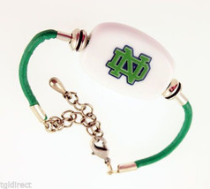 Fenton Collegiate Logo Leather Cord Bracelet Notre Dame Milk Glass NCAA Bead N - $45.00