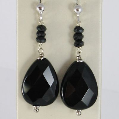 EARRINGS SILVER 925 RHODIUM HANGING WITH ONYX BLACK FACETED DROP