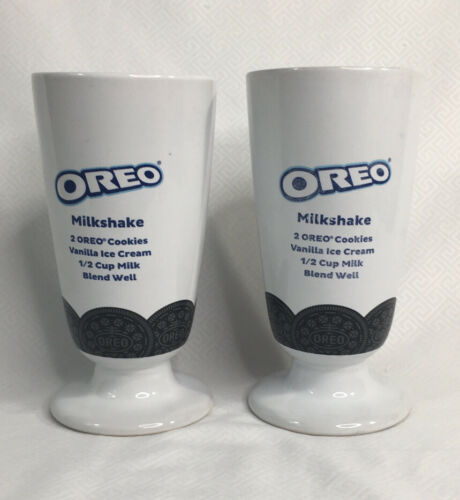 Primary image for Oreo Cookies Milkshake Ceramic Glass With Recipie 12 oz Set Of 2