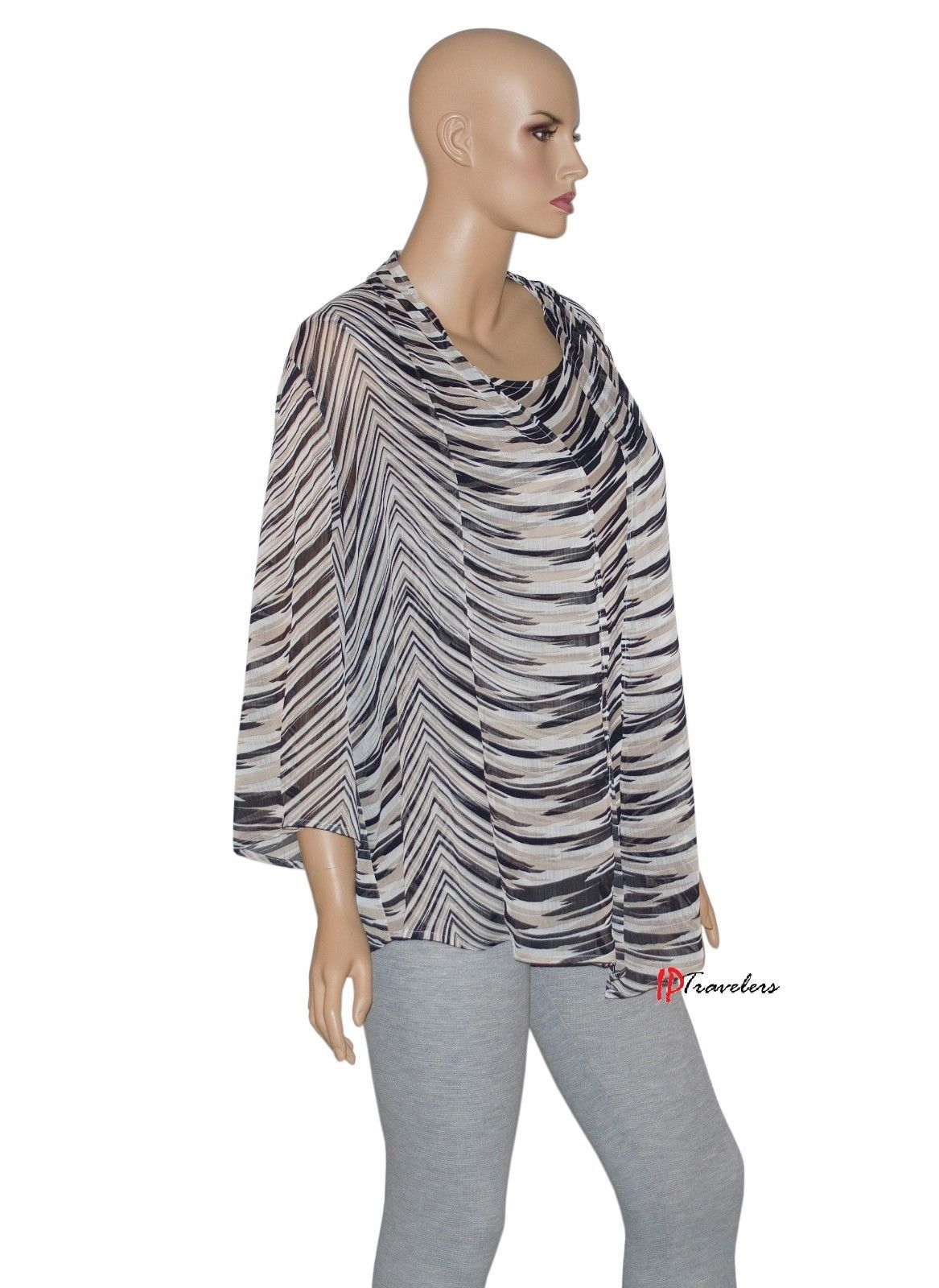 JM Collection Women's Top Blouse 2-Piece Brown Black White Polyester $59.50