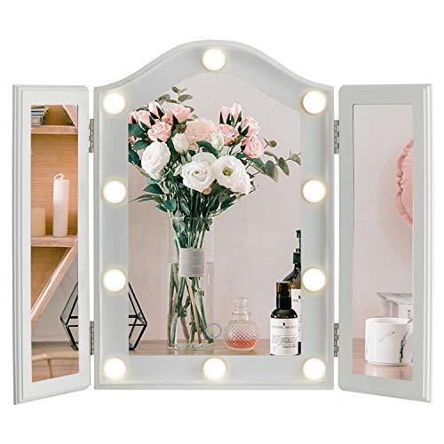 Primary image for LUXFURNI Vanity Lighted Tri-fold Makeup Mirror with 10 Dimmable LED Blubs, Touch