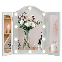 LUXFURNI Vanity Lighted Tri-fold Makeup Mirror with 10 Dimmable LED Blub... - $86.99