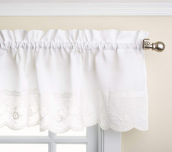 LORRAINE HOME FASHIONS Candlewick Tailored Valance, 60 by 12-Inch, White - $22.31