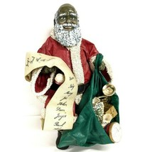 1989 Clothtique Black Santa Bald Nice List Scroll Green Bag of Gifts Hor... - $37.04