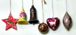 6 pc pack Christmas hanging decoration ornament paper mache balls heart ... - $46.08