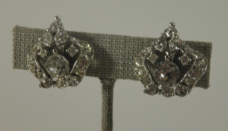 VINTAGE signed  Bogoff rhodium plating crown crystal clear rhinestones 701