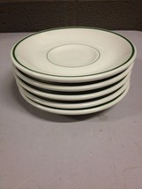 "Lot of 5 Buffalo China Restaurantware 6"" Saucer Plate Green Rim (i20) - $28.04"