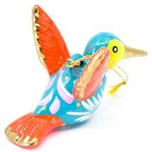 Handcrafted Painted Ceramic Blue Hummingbird Confetti Ornament Made in Peru image 4
