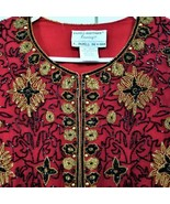 "Papell Boutique ""Evening"" Ornate Silk Decorated Beaded Jacket-Red/Blk/Go... - $73.26"