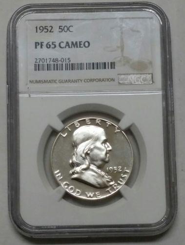 1952 pf65 Cameo proof Franklin Silver Half Dollar NGC Coin Lot# SR 1200