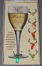 Boston Warehouse Wine Glass Markers Charms Martini Cocktail Drinks Set o... - $7.69