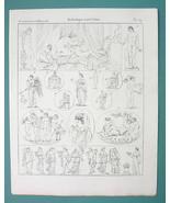 MYTHOLOGY Gods Eros Psyche Hymen Fides Pietas Hermaphrodite - 1825 Antiq... - $9.79