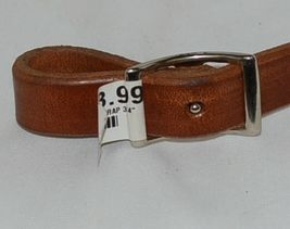 Unbraded Product Number 516 Light Brown Leather Tie Down Strap image 3